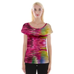 Abstract Pink Colorful Water Background Women s Cap Sleeve Top