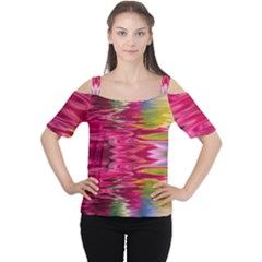 Abstract Pink Colorful Water Background Women s Cutout Shoulder Tee