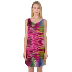 Abstract Pink Colorful Water Background Sleeveless Satin Nightdress
