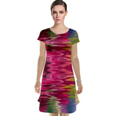 Abstract Pink Colorful Water Background Cap Sleeve Nightdress