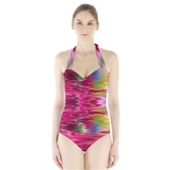 Abstract Pink Colorful Water Background Halter Swimsuit