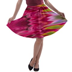 Abstract Pink Colorful Water Background A Line Skater Skirt