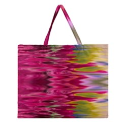 Abstract Pink Colorful Water Background Zipper Large Tote Bag