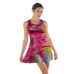 Abstract Pink Colorful Water Background Cotton Racerback Dress