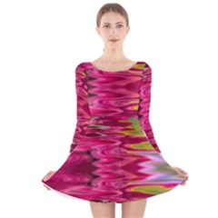 Abstract Pink Colorful Water Background Long Sleeve Velvet Skater Dress