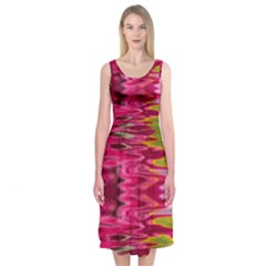 Abstract Pink Colorful Water Background Midi Sleeveless Dress