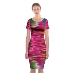 Abstract Pink Colorful Water Background Classic Short Sleeve Midi Dress