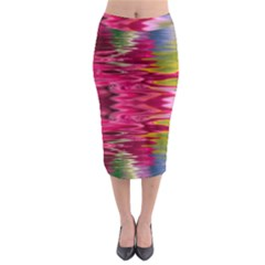 Abstract Pink Colorful Water Background Midi Pencil Skirt
