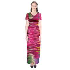 Abstract Pink Colorful Water Background Short Sleeve Maxi Dress