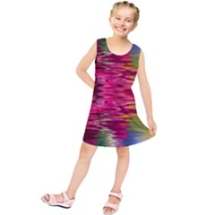 Abstract Pink Colorful Water Background Kids  Tunic Dress