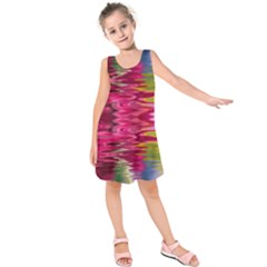Abstract Pink Colorful Water Background Kids  Sleeveless Dress