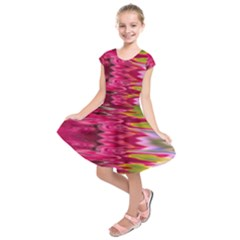 Abstract Pink Colorful Water Background Kids  Short Sleeve Dress