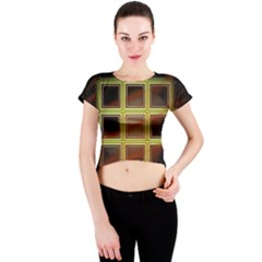 Drawing Of A Color Fractal Window Crew Neck Crop Top