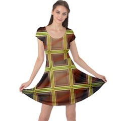 Drawing Of A Color Fractal Window Cap Sleeve Dresses