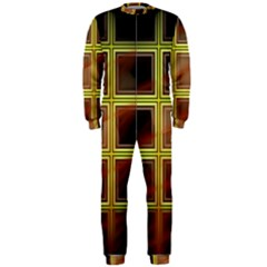 Drawing Of A Color Fractal Window Onepiece Jumpsuit (men)