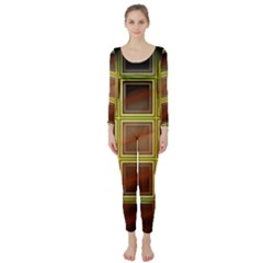 Drawing Of A Color Fractal Window Long Sleeve Catsuit