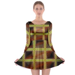 Drawing Of A Color Fractal Window Long Sleeve Skater Dress