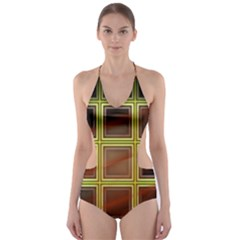 Drawing Of A Color Fractal Window Cut Out One Piece Swimsuit
