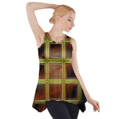 Drawing Of A Color Fractal Window Side Drop Tank Tunic