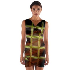 Drawing Of A Color Fractal Window Wrap Front Bodycon Dress