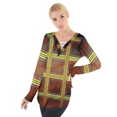 Drawing Of A Color Fractal Window Women s Tie Up Tee