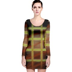 Drawing Of A Color Fractal Window Long Sleeve Velvet Bodycon Dress