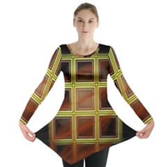 Drawing Of A Color Fractal Window Long Sleeve Tunic