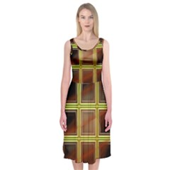 Drawing Of A Color Fractal Window Midi Sleeveless Dress
