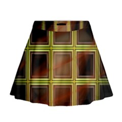 Drawing Of A Color Fractal Window Mini Flare Skirt