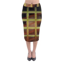 Drawing Of A Color Fractal Window Midi Pencil Skirt