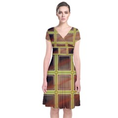 Drawing Of A Color Fractal Window Short Sleeve Front Wrap Dress