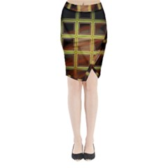 Drawing Of A Color Fractal Window Midi Wrap Pencil Skirt