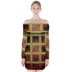Drawing Of A Color Fractal Window Long Sleeve Off Shoulder Dress