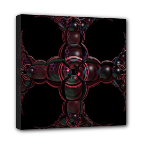 Fractal Red Cross On Black Background Mini Canvas 8  x 8