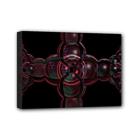 Fractal Red Cross On Black Background Mini Canvas 7  X 5