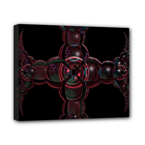 Fractal Red Cross On Black Background Canvas 10  X 8
