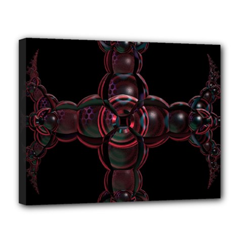 Fractal Red Cross On Black Background Canvas 14  x 11