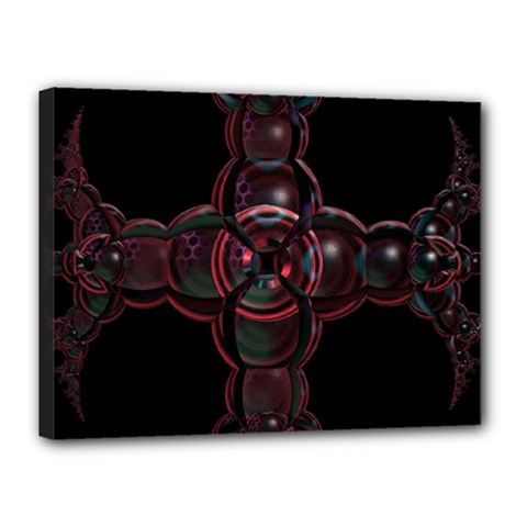 Fractal Red Cross On Black Background Canvas 16  x 12