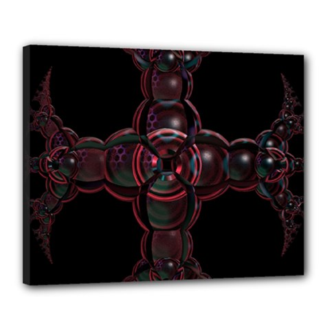 Fractal Red Cross On Black Background Canvas 20  x 16