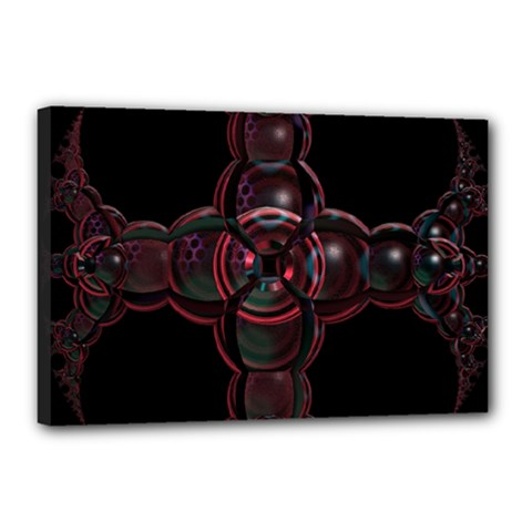 Fractal Red Cross On Black Background Canvas 18  X 12