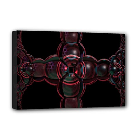 Fractal Red Cross On Black Background Deluxe Canvas 18  X 12