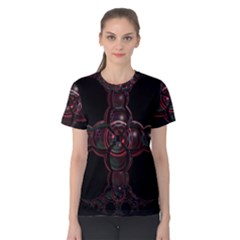 Fractal Red Cross On Black Background Women s Cotton Tee