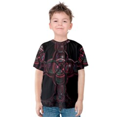 Fractal Red Cross On Black Background Kids  Cotton Tee