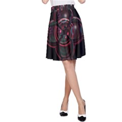 Fractal Red Cross On Black Background A-Line Skirt