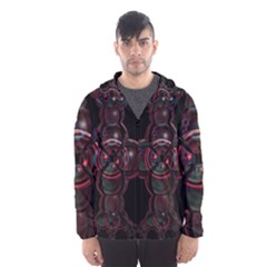 Fractal Red Cross On Black Background Hooded Wind Breaker (men)