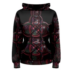 Fractal Red Cross On Black Background Women s Pullover Hoodie