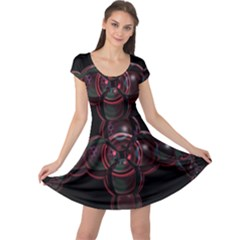 Fractal Red Cross On Black Background Cap Sleeve Dresses