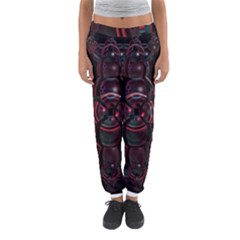 Fractal Red Cross On Black Background Women s Jogger Sweatpants