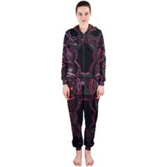 Fractal Red Cross On Black Background Hooded Jumpsuit (ladies)