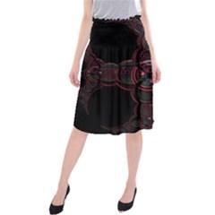 Fractal Red Cross On Black Background Midi Beach Skirt